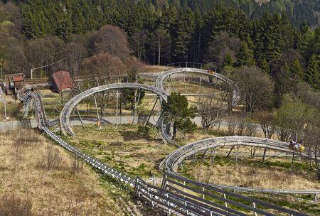 Alpyland Alpine Coaster is the amusement park on top of the Mottarone. Standard-Bild - 138833723