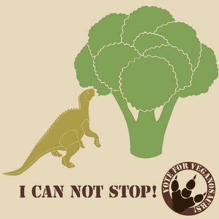 likes: vegetarian dinosaur eating a brokkoli and he likes it