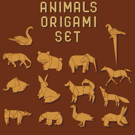 diente caricatura: animales de origami de color naranja en el fondo de color rojo oscuro