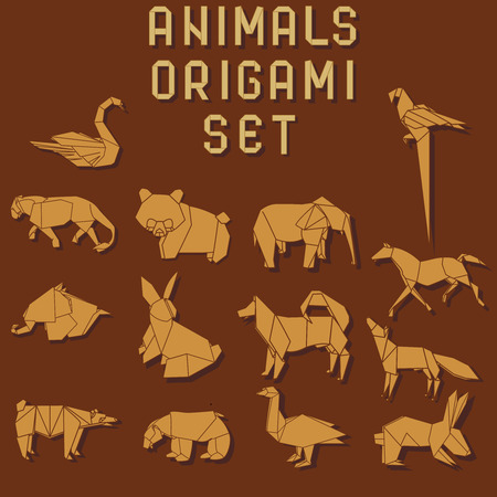 orange origami animals on the dark red background