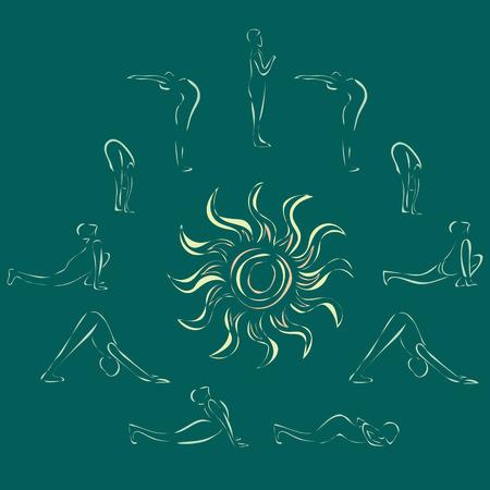 salutation: sun salutation vector yoga poses sign and symbol