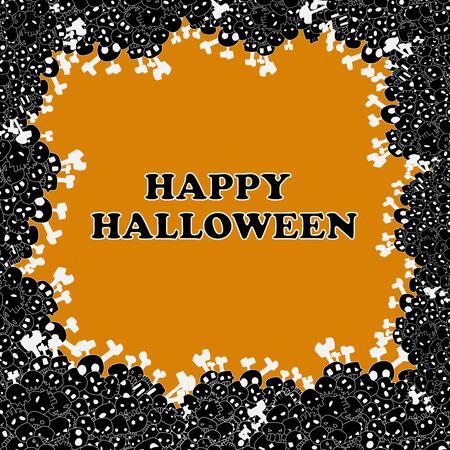hallowmas: happy halloween frame vector with skulls and bones