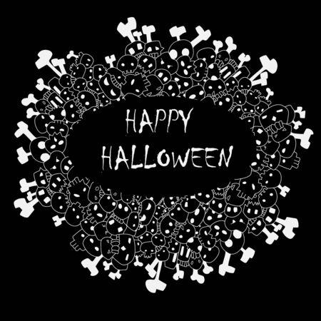 happy halloween frame vector with skulls and bones