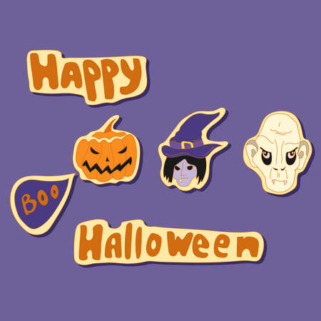 hallowmas: happy halloween elements vector set with witch, vampire and pumpkin