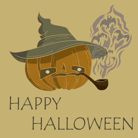 pipe smoking: pumpkin with hat smoking a pipe. vector illustration