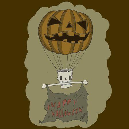 frightful: Pumpkin like a air balloon with skull and bone . vector illustration