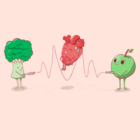 heart jumping rope that held the apple and broccoli. vector illustration