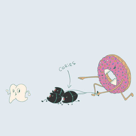 cranny: Doughnut with caries run for tooth.Illustration about the dangers of sugar for teeth