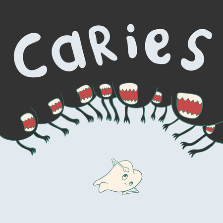 cranny: caries surrounds defenseless tooth on all sides. dental vector illustration Illustration