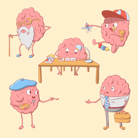 frailty: Set of cartoon cute brain character. vector ullustration Illustration