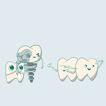 Cute dental implant robot and teeth. vector illustration