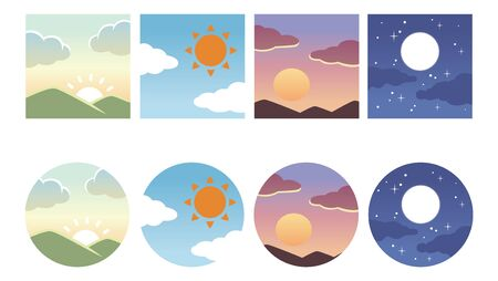 Time zone sky icon morning / day / evening / night 矢量图像