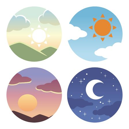 Morning, evening and night circle icon