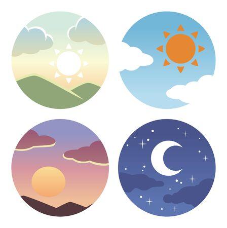 Morning, evening and night circle icon 矢量图片