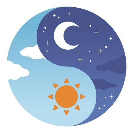 Day and night Yin Yang illustration