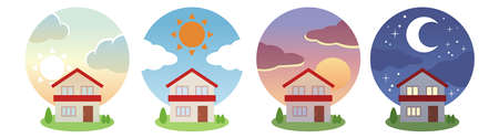 Morning, noon, evening and night scenery illustration set