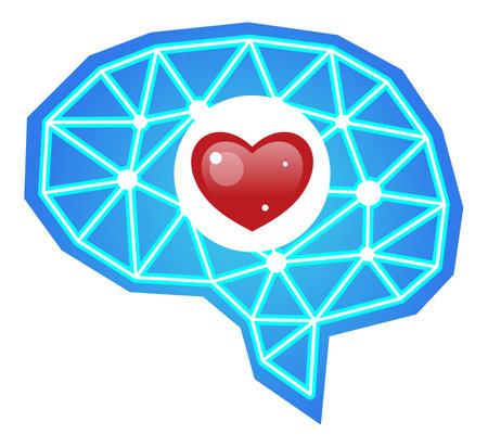 Brain with heart love illustration  イラスト・ベクター素材