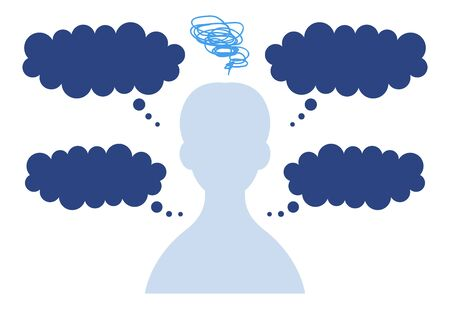 Speech bubble with silhouette of man in need of anxiety 免版税图像 - 148118456
