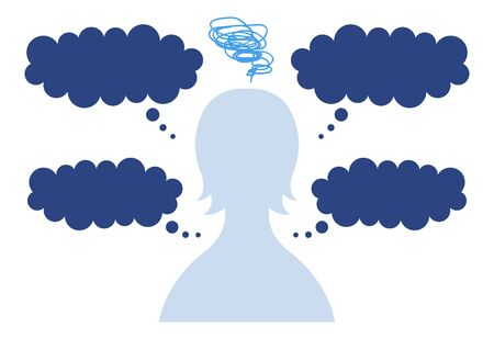 Speech bubble with silhouette of anxious woman in need