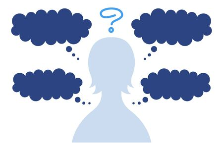 Speech bubble with silhouette of woman thinking and thinking