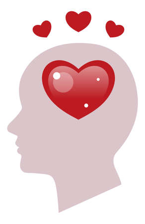 Romantic psychology with heart illustration