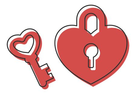 Heart padlock, love psychology vector icon