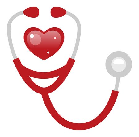 Red heart stethoscope vector icon 矢量图像