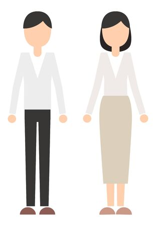 Office casual man and woman full body 矢量图像