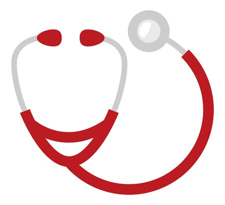 Red stethoscope medical examination vector