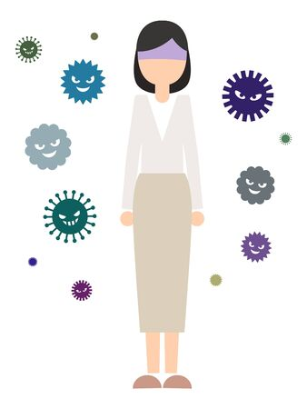 Woman in an environment with lots of viruses