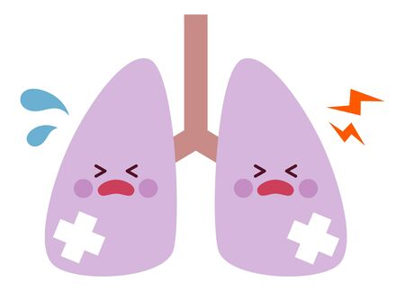 Wounded lung character, vecter illustration
