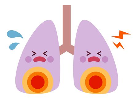 Inflamed red lung character illustration 矢量图像