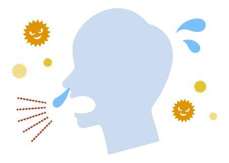 Pollen sneeze runny nose  イラスト・ベクター素材