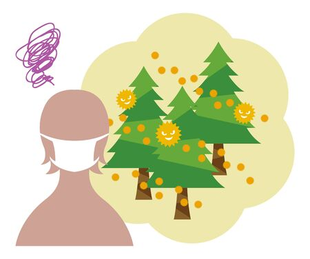 Woman silhouette suffering from cedar pollinosis