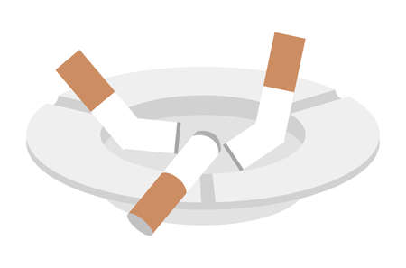 Ashtrays and cigarette butts
