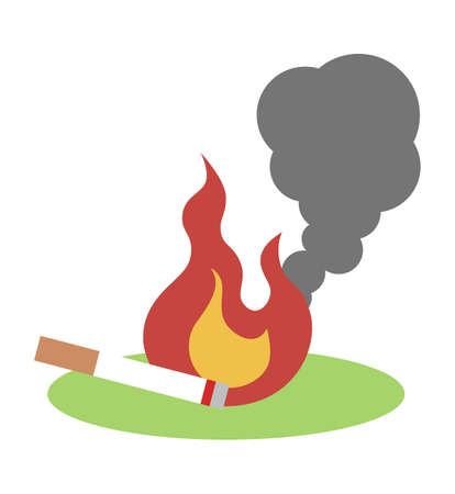 Fire caused by littering of cigarettes  イラスト・ベクター素材