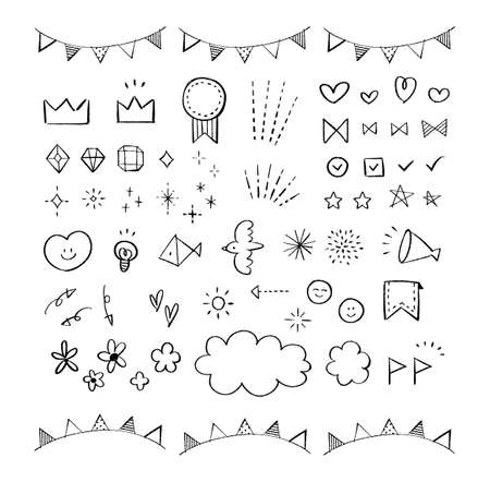 Hand-drawn icons and decorative sets