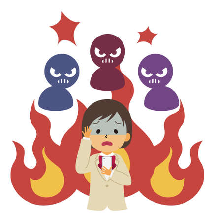 Schoolgirl in trouble after going up in flames on the Internet  イラスト・ベクター素材