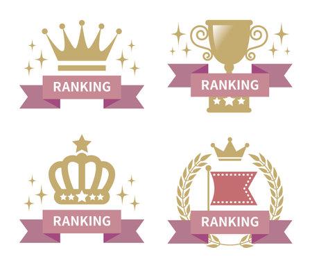 4 ranking icons  イラスト・ベクター素材