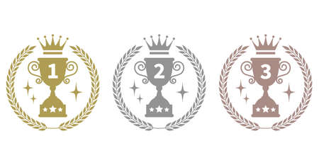 Icons of 1st, 2nd and 3rd place in the ranking  イラスト・ベクター素材