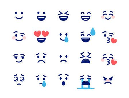 20 simple expressions  イラスト・ベクター素材