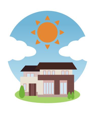 Sunny blue sky and house