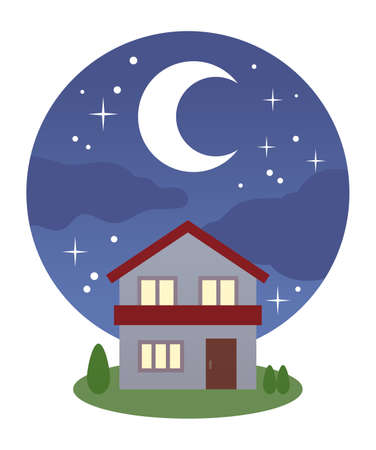 House with night sky and red roof