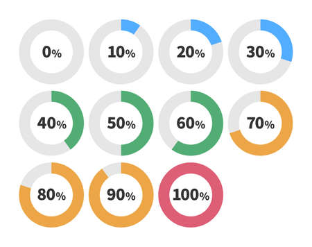10 icons per 10% from 0% to 100%  イラスト・ベクター素材