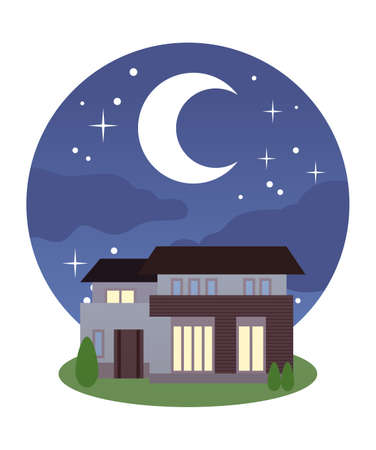 House with night sky and electricity  イラスト・ベクター素材