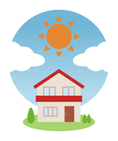 House with sunny blue sky and red roof  イラスト・ベクター素材