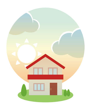 Morning sun and red roof house  イラスト・ベクター素材