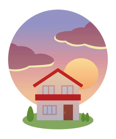 Sunset and red roof house  イラスト・ベクター素材