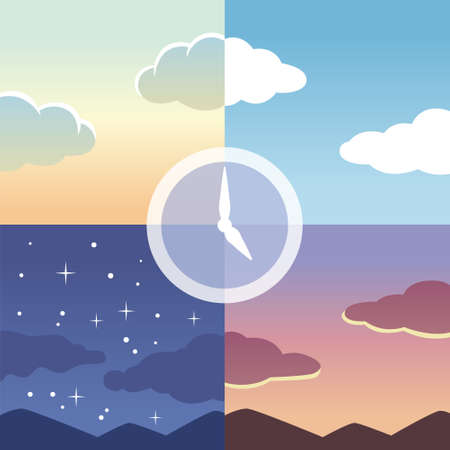 Clock with morning, noon, evening and night in the background