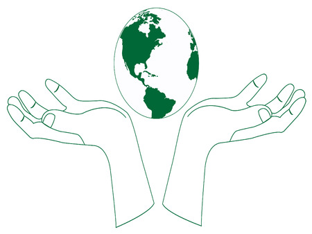 beautiful earth with green hands Vector